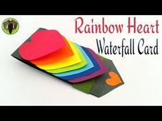 "Craft Tutorial to make Paper ""Rainbow Heart waterfall card"" Greetings | Valentine - YouTube"