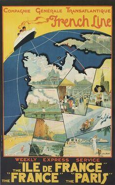 """Compagnie Générale Transatlantique - French Line - Weekly express service - Paquebot """"Ile de France"""", """"France"""", """"Paris"""" - 1930 - iluustration : Leo Fontan -"""
