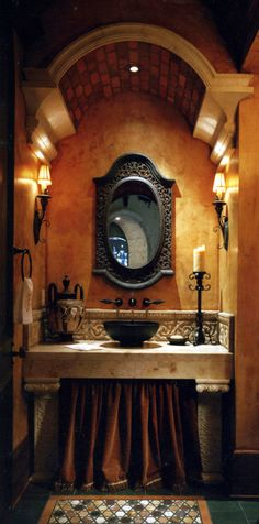 Rustic Italian Home 21 Old World Decorating, Tuscan Decorating, Tuscan Bathroom Decor, Bathroom Styling, Spanish House, Spanish Style, Powder Room Design, Mediterranean Home Decor, Spanish Home Decor
