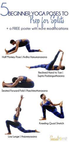 Beginner Yoga Poses to Prep for Splits #YogaPoses