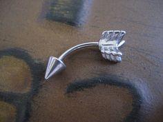 Arrow Eyebrow Rook Conch Snug Helix Cuff Ear Eye by Azeetadesigns