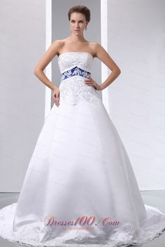 Strapless satin ball wedding gown with blue waist. Click the picture to purchase.