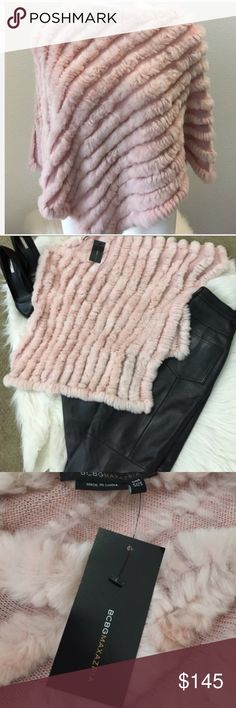 BCBGMaxazria Pink Shawl Wrap Poncho Rabbit Fur NWT BCBGMaxazria Pink Shawl Wrap Poncho NWT 100 % Fur, Soft & Luxurious Rabbit Fur Wrap/ Shawl. Great with the leather pants I have available! Bundle and Save! One size fits most. RARE and out of stock. Check out my other BCBGMAxAzria NWT items!! BCBGMaxAzria Accessories Scarves & Wraps