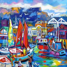 Artwork of Isabel le Roux exhibited at Robertson Art Gallery. Original art of more than 60 top South African Artists - Since Ship Paintings, Landscape Paintings, Amazing Drawings, Art Drawings, Fauvism Art, South African Artists, Tropical Art, Whimsical Art, Portrait Art