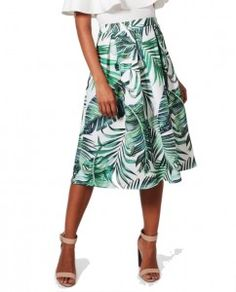 2020c443dce3 cute palm leaf print skirt with a white off the shoulder top