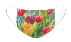 Face Mask, Colourful Tulips on Blue