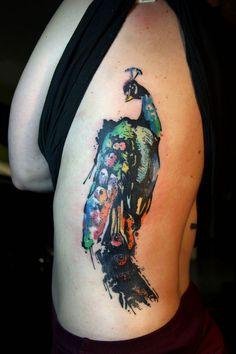 Graphic Peacock, Watercolor Tattoos, Rib Watercolor, Watercolor Peacock Tattoo, Body Tattoos, Tattoos Henna, Deanna S Tattoo