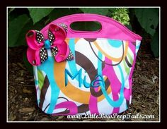 Modern Floral Monogrammed Lunchbox Insulated ReUseable Lunch Bag Tote Name Hot Pink Aqua Blue Personalized. $19.95, via Etsy.