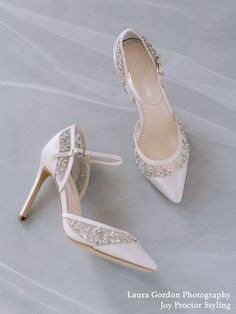 Shop unique embellished wedding shoes for brides at Bella Belle—a non-cookie cutter fashionable shoe design brand. View all our pretty wedding heels and more. Silver Wedding Shoes, Wedding Heels, Ivory Wedding, Wedding Attire, Wedding Dresses, Shoe Crafts, Lace Pumps, Crystal Shoes, Bride Shoes