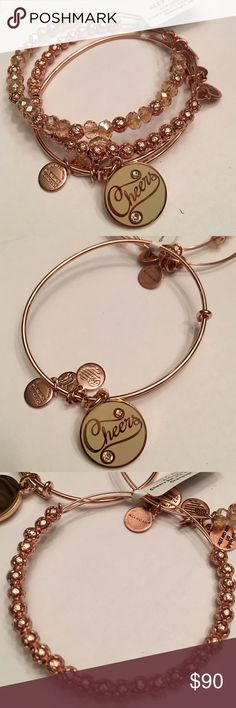 """NWT Alex and Ani set of 3 cheers bangles NEW FOR HOLIDAY 2016 Brand new with tags...set of 3 bangles in shiny rose gold. Two are beaded one has a cream epoxy disc which reads """"cheers"""" and has 2 swarovski crystals. Sold as a set only. Comes with meaning card. From a smoke and pet free home. ❌no trades❌ Alex & Ani Jewelry Bracelets"""