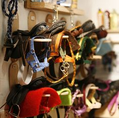 A wonderfully detailed tack room to scale! Check out the cut popsicle sticks!