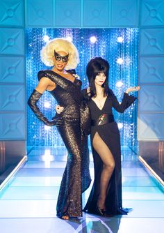 Rupaul and Elvira - really, I think the fashion world should just swap sexes. Make frocks for chaps and suits for ladies and those of us comfortably in the middle can just take our pick.