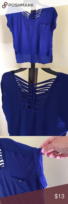 Blue blouse, cross cross back Royal blue shirt sleeve top with sexy cross cross back, shirt length a little shorter in front as pictured, super soft size S Tops Blouses