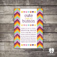 cute as a button girl baby shower invitation a button and buttons