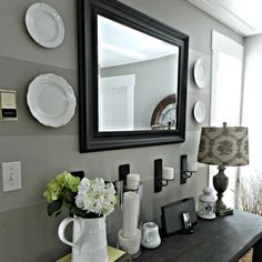 ... Black framed mirror for home entry decoration; Mirror for foyer table at entryway ...