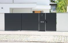 Modern Entrance, Entrance Design, Front Gates, Entrance Gates, Tor Design, House Gate Design, Modern Glass, Garden Gates, Wood Doors