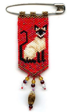 https://flic.kr/p/7KBjqS | Siamese Cat Beaded Pin | This was made by me from a pattern created by Deb Moffett Hall.