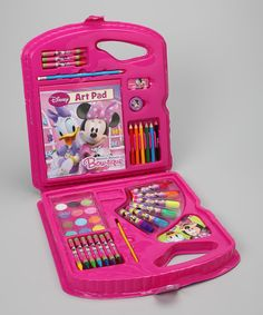 Playtime is perfect with this magnificent Minnie Mouse art set. With an amazing and adorable selection of supplies, this sweet set is sure to captivate the attention of little ones for days of delightful fun.Includes art pad, 10 crayons, six markers, sharpener, eraser, pencil, six colored pencils, 12 watercolors, mixing tray and brush11.5'' W x 12.5'' H x...