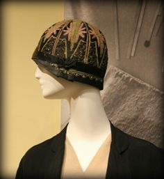 Cloche: ca. 1920's, embroidered.   Photos from http://www.scottsdalefashionista.com/obsessories-vintage-hats/
