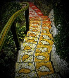We've mentioned before the importance of ensuring that mosaic paths always have a rough finish, either by using tiles, stones etc that have a rough finish or by putting a non-slip coating on your finished product.    Here's a classic example of a mosaic staircase that could be very slippery (and dangerous) when wet.    We have more mosaic inspirations at: http://theownerbuildernetwork.com.au/mosaic/