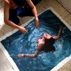 Realistic paintings of people swimming