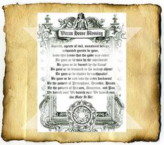 Wiccan House Blessing - Digital Download Graphic BoS Page, home clearing spell via Etsy