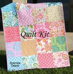 Last one girl baby quilt kit splendor lila tueller purple aqua last one baby quilt kit splendor by lila tueller for riley blake fabrics blanket diy do it yourself modern designer fabrics patchwork solutioingenieria