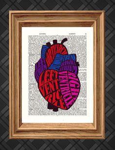 Coração Nomeado Anatomy - Dicionário Impressão artística, Up-ciclado Antique Book Art página, decoração da parede, arte da parede, colagem dos meios mistos
