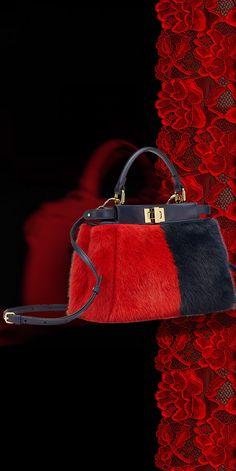 Black & Red Fendi Handbag - Fashion