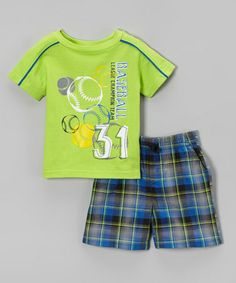 Look at this #zulilyfind! Lime Baseball Tee & Blue Plaid Shorts - Infant, Toddler & Boys by Kids Headquarters #zulilyfinds