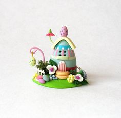 Miniature  Easter Eggs Whimsy Cottage House  OOAK by C. Rohal