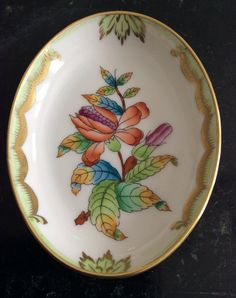HEREND QUEEN VICTORIA Baroque Oval by ChrysanthemumCottage on Etsy, $25.00