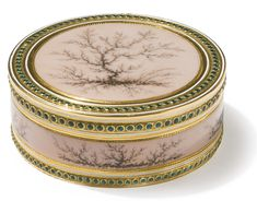 "A LOUIS XVI GOLD AND ENAMEL SNUFF BOX, JOSEPH-ETIENNE BLERZY, PARIS, 1778 circular, enameled on all surfaces with ""moss-agate"" motifs on a translucent pink ground, borders of emerald green enamel beads  marked inside base, side, and cover  diameter 2 1/2 in."