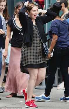 Working hard! Lena Dunhamwas spotted filming season five of Girls in New York City on Monday