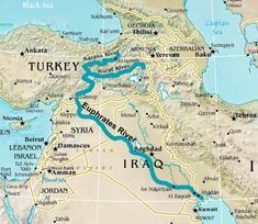 The Euphrates River forms part of the boundary for the Fertile Cresent in Mesopotamia. It is still an important River flowing through today's Turkey, Iraq Map, Bible Mapping, Ancient Near East, Ancient Mesopotamia, Christian Resources, Bible Knowledge, Bible Truth, Historical Maps, Aerial View