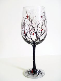 Cardinal Hand Painted Wine Glass Holiday Gift Snow Winter Tree Branches Collectible Red Bird Nature Outdoors Artistic Unique Christmas Drink - pinned by pin4etsy.com