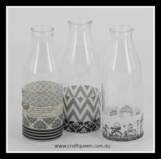Classic black, white and grey washi tape to decorate vases. www.craftqueen.com.au