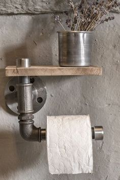 """toilet paper holder and air freshener in one go - I dig it.""~K industrial rustic bathroom industrial pipe toilet by Industrial Interior Design, Industrial Bathroom, Rustic Bathrooms, Industrial House, Industrial Interiors, Rustic Industrial, Industrial Toilets, Industrial Wallpaper, Industrial Shelving"