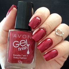 Avon Nail Polish, Avon Nails, Nail Polish Colors, Red Manicure, Red Nails, Manicure And Pedicure, Cute Pink Nails, Pretty Nails, Pink Nail Designs