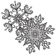 Delicate patterns make up a pretty duo of snowflakes. Downloads as a PDF. Use pattern transfer paper to trace design for hand-stitching.