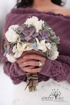 Love everything about this, from the arm warmers and wrap to this incredible bouquet. :: Succulent Wedding Bouquet by ATouchofSucculents