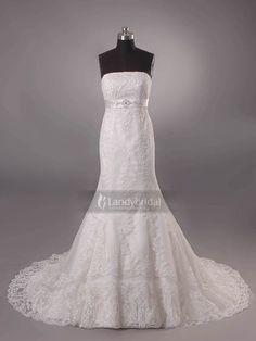 ランディブライダル ウェディングドレス マーメイド チャペルトレーン アイボリー レース ビスチェ チュール H5lblb1864
