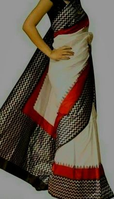 Ikkat saree in off-white with zigzag pattern in contrast border. Comes with an attached blouse. Indian Attire, Indian Wear, Indian Style, Indian Beauty Saree, Indian Sarees, Indian Dresses, Indian Outfits, Drape Sarees, Sari Design