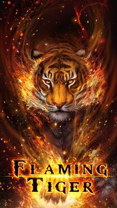 Cool fire tiger, flame tiger, flaming tiger live wallpaper!