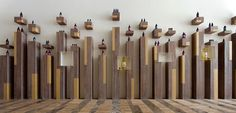 display, wood, columns