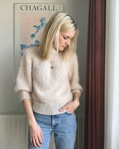 The Saturday Night Sweater is knit from the top down with a circular yoke. The neckline is shaped with short rows. The neckband is knit at the end from picked up stitches along the neckline. Karen Lynn Gorney, Pullover Design, Sweater Design, Saturday Night Fever, Mohair Sweater, Knit Sweaters, Turtleneck, Angora, Knitwear Fashion