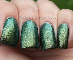 "The Sparkling Hoard: Indigo Bananas Swatch Spam!-""Lowkey"" glass fleck yellow-green/emerald green duochrome"