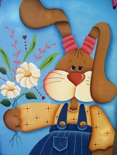 Handpainted Spring Bunny BannerWooden Girl by stephskeepsakes, $24.99