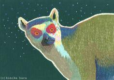 Lemur katta. Embroidery. Kimika hara