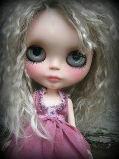 OOAK Custom Blythe Doll With Ash Blonde Mohair Reroot - Traci